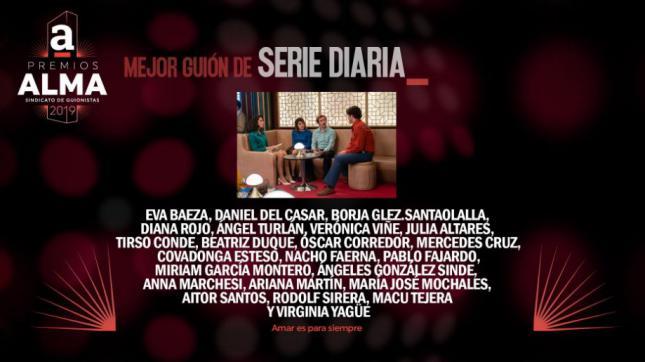 'Amar es para siempre' nominado a mejor guión de serie diaria en los Premios Alma